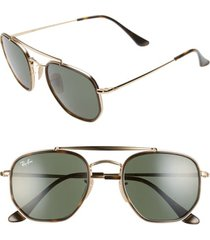 women's ray-ban 52mm irregular aviator sunglasses - gold/ green solid