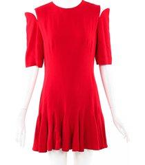 alexander mcqueen flared cold shoulder dress red sz: s