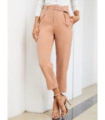 yoins marrón cinturón diseño bolsillos laterales de cintura alta pantalones
