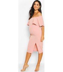 maternity frill front midi dress, rose