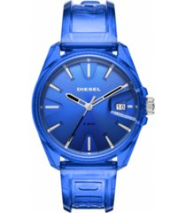 diesel unisex ms9 blue transparent ployurethane strap watch 44mm