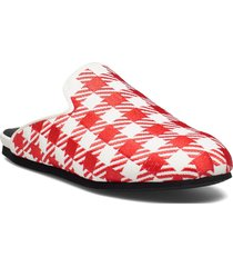 hums checked canvas slipper mules slip-ins röd hums