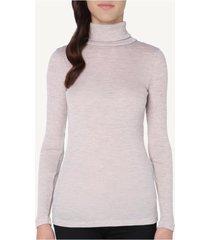 blusa manga comprida em lã e seda gola alta intimissimi lã e seda rosa