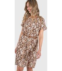 vestido camel etam animal