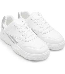 tenis blancos con franja plata color blanco, talla 36