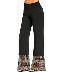 sequins lace panel trim straight pants