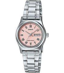 reloj analógico mujer casio ltp-v006d-4b - plateado con rosa