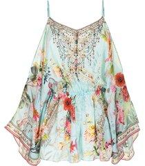 camilla floral-print silk playsuit - blue