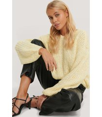 na-kd trend balloon sleeve melange sweater - yellow