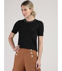 blusa feminina em tricô com miçangas manga curta decote redondo preta