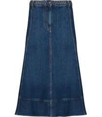 valentino braided-waist denim midi skirt - blue