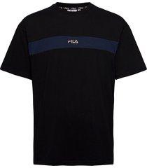 men ward dropped shoulder tee t-shirts short-sleeved svart fila