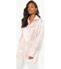 oversized satijnen marmerprint blouse, beige
