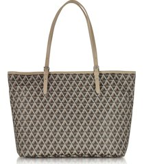 lancaster paris designer handbags, ikon brown & nude coated canvas and leather tote bag