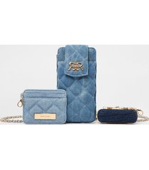 river island womens blue denim multi set pouch bags