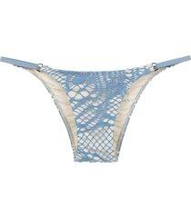 track & field printed bikini bottoms - blue
