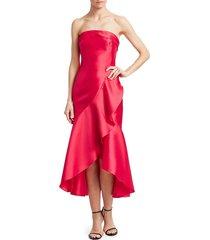 monique lhuillier women's asymmetrical ruffle satin cocktail dress - raspberry - size 14