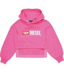 diesel short sweatshirt with hood in front of fuchsia