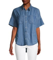 oat new york women's oversized boxy denim shirt - blue - size s
