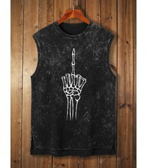 camiseta sin mangas con estampado de esqueleto lavado de verano para hombre