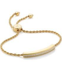 linear diamond chain bracelet, gold vermeil on silver