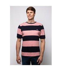 camiseta pau a pique listrada azul marinho e rosa