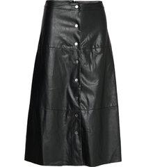onljane faux leather midi skirt otw knälång kjol svart only
