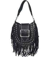 dsquared2 fringe buckled shoulder bag