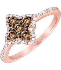 le vian women's chocolatier® 14k strawberry gold®, chocolate diamonds® & vanilla diamonds® ring/size 7 - size 7