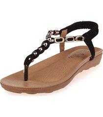 sandali elastici piatti in metallo con cinturino in metallo per le donne