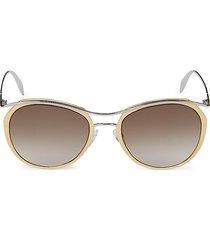 alexander mcqueen women's 54mm oval sunglasses - gold