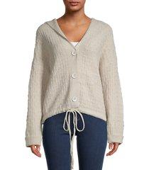 cocobleu women's basketweave hooded jacket - natural - size m