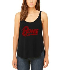 women's david bowie logo premium word art flowy tank top