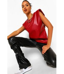 faux leather t-shirt met schouderpads, wine