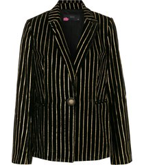 eva stripe print blazer - black