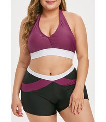 colorblock halter plus size bikini swimsuit