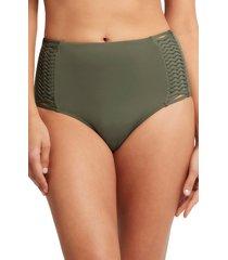 women's sea level high waist bikini bottoms, size 6 us - green