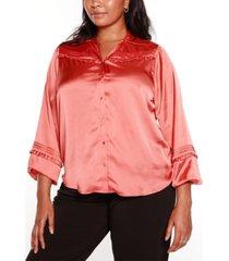 belldini black label plus size button front collared blouse