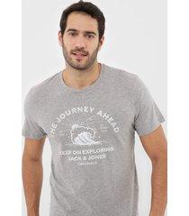 camiseta jack & jones light grey cinza