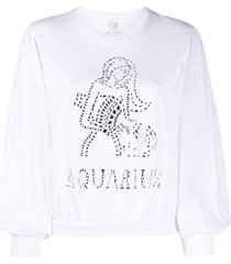 alberta ferretti aquarius crystal-embellished sweatshirt - white