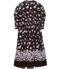 drop pocket smock dress in black/white