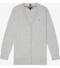 tommy hilfiger women's adaptive boyfriend cardigan light grey heather - xxl