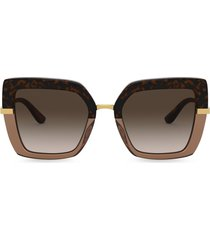 dolce & gabbana eyewear half print oversize-frame sunglasses - brown