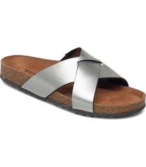 woms slides shoes summer shoes flat sandals silver tamaris