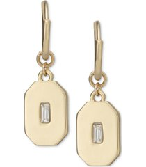 rachel rachel roy gold-tone crystal engraved charm hoop earrings