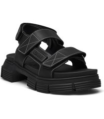 recycled rubber shoes summer shoes flat sandals svart ganni