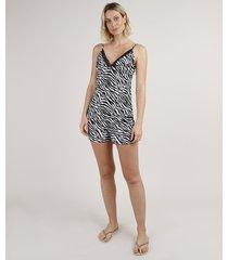 short doll feminino estampado animal print zebra alça fina preto