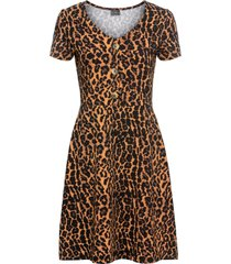 abito di jersey leopardato a maniche corte (marrone) - rainbow