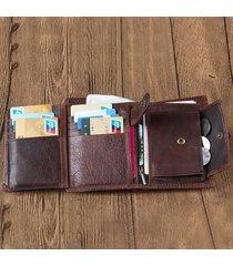 uomo vintage portafoglio corto in pelle vera a tri-fold con 12 card slots
