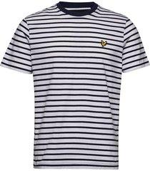 breton stripe t-shirt t-shirts short-sleeved blå lyle & scott